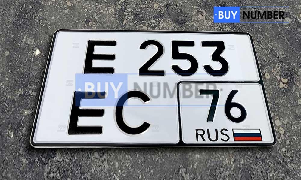 Квадратный номер нового образца на авто - 76 региона