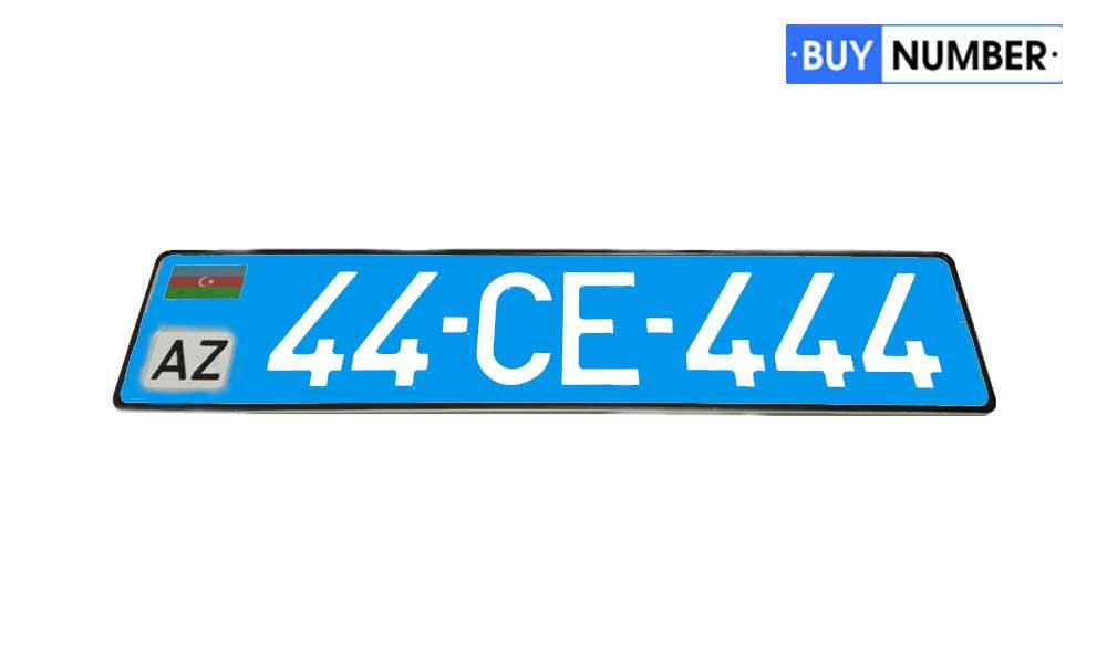 Дубликат гос номера Азербайджана на общественный транспорт синий