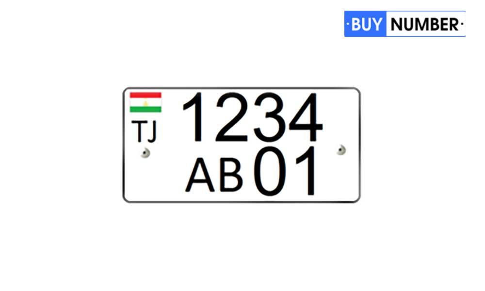 Дубликат квадратного гос номера Таджикистана для автомобиля