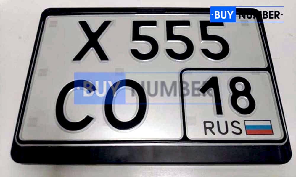 Квадратный номер нового образца на автомобиль - новый ГОСТ 18 региона