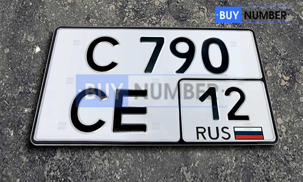 Квадратный номер нового образца на автомобиль - новый ГОСТ 12 региона
